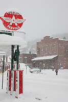 """Snowy Flying A in Truckee 3"" - This snow covered replica of a Flying A gas station was photographed in the early morning in Downtown Truckee, California."