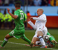 Michael Bradley (center) of USA. USA defeated Algeria 1-0 in stoppage time in the 2010 FIFA World Cup at Loftus Versfeld Stadium in Pretoria, Sourth Africa, on June 23th, 2010.