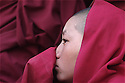 A young monk watches a festival in the capital city of Leh in Ladakh, India.