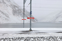 Railway station on the Oberalp Pass (2044m),. While the road closes for seven months of the year, the railway remains in use, between Uri and Graubunden