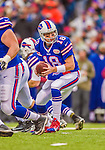 9 November 2014: Buffalo Bills quarterback Kyle Orton takes a snap against the Kansas City Chiefs at Ralph Wilson Stadium in Orchard Park, NY. The Chiefs rallied with two fourth quarter touchdowns to defeat the Bills 17-13. Mandatory Credit: Ed Wolfstein Photo *** RAW (NEF) Image File Available ***