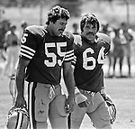 San Francisco 49ers training camp August 3, 1982 at Sierra College, Rocklin, California.  San Francisco 49ers linebacker Bob Horn (55) and linebacker Jack Reynolds (64).