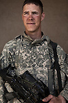 SPC Timothy Eickmeier. Blythewood, South Carolina. 23. Charlie Co. 1st Battalion 12th Infantry Regiment, 4th Infantry Division. Photographed at Combat Outpost JFM in Zhari District, Kandahar, Afghanistan.