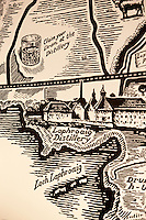 A detail from an antique map pinpointing the location of the Laphroaig distillery, one of eight on the island
