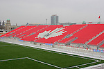 27 April 2007: A view of the maple leaf pattern in the seats of the East Stand taken from the South Stand.  BMO Field in Toronto, Ontario, Canada on the day before it was scheduled open with the inaugural home match of Major League Soccer expansion team Toronto FC.