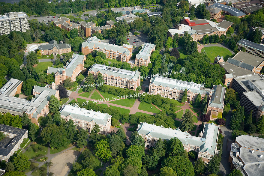 aerial views of University of Washington - UW - and Lake Washington