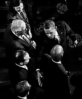 UNITED STATES – SEPTEMBER 8: President Barack Obama shakes hands with Senate Republicans after delivering his speech on jobs to a joint session of Congress on Thursday, Sept. 8, 2011. (Photo By Bill Clark/Roll Call)