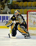 29 December 2007: University of Vermont Catamounts' goaltender Jeff Hill, a Senior from Cranston, RI, warms up prior to a game against the Holy Cross Crusaders at Gutterson Fieldhouse in Burlington, Vermont. The Catamounts rallied in the final seconds of play to tie the game 1-1. After overtime, although the official result remained a tie game, the Cats moved up to the championship round by winning a sudden death shootout in the second game of the Sheraton/TD Banknorth Catamount Cup Tournament...Mandatory Photo Credit: Ed Wolfstein Photo