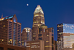 A recent Photo of the Charlotte NC Skyline. In this Charlotte skyline photo, the Bank Of America building is at the Center of Charlotte, at the corner of Trade and Tryon.