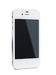 White iPhone 4s Apple smartphone with blank screen standing at an angle. Isolated on white background with clipping path.