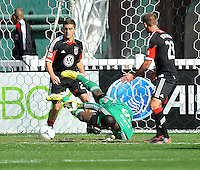 Bill Hamid (28) od D.C. United goes down to make a save during the game. The Columbus Crew defeated D.C. United  2-1, at RFK Stadium, Saturday March 23, 2013.