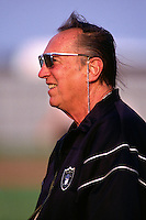 AUSTIN, TX - Owner Al Davis of the Oakland Raiders walks the sidelines during training camp with the Dallas Cowboys in Austin, Texas in 1997. Photo by Brad Mangin