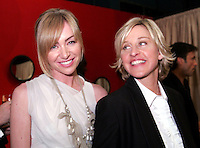 28 April 2006: Ellen DeGeneres with partner Portia deRossi in the exclusive behind the scenes photos of celebrity television stars in the STAR greenroom at the 33rd Annual Daytime Emmy Awards at the Kodak Theatre at Hollywood and Highland, CA. Contact photographer for usage availability.