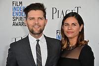 Adam Scott &amp; Naomi Scott at the 2017 Film Independent Spirit Awards on the beach in Santa Monica, CA, USA 25 February  2017<br /> Picture: Paul Smith/Featureflash/SilverHub 0208 004 5359 sales@silverhubmedia.com