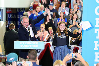 NEWTOWN, PA - OCTOBER 26 :  Democratic vice presidential nominee Senator Tim Kaine pictured raising the hand of the 14 year old girl wearing a future president shirt that introduced him at a campaign for Hillary Clinton in the Lehigh Valley and Bucks County area at Bucks County Community College Newtown Campus in Newtown, Pa on October 26, 2016  photo credit  Star Shooter/MediaPunch