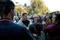"""Roma 28 Ottobre 2007.Manifestanti  dell'area antagonista del gruppo """"Militant Prometemos Resistir"""" a protestato contro la beatificazione dei 498 Martiri Spagnoli davanti alla chiesa di Sant'Eugenio dell'Opus Dei, in via delle Belle Arti,hanno esposto alcuni pannelli del Guernica di Picasso e gettato in strada vernice rossa. I fedeli all'uscita della chiesa  hanno picchiato i manifestanti...Rome October 28 th 2007  .Demonstrators of the area antagonist of the group """"Militant Prometemos Resistir"""" to protested against the beatification of the 498 Spanish Martyrs in front of the church of Sant'Eugenio of the Opus Of the, in the street of the Belle Arti.They have exposed some panels of the Guernica of Picasso and thrown in the street red varnish. The believers to the exit of the church have beaten the demonstrators.  .."""