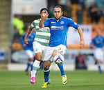 St Johnstone v Celtic...13.08.14  SPFL<br /> Lee Croft and Emilio Izaguirre<br /> Picture by Graeme Hart.<br /> Copyright Perthshire Picture Agency<br /> Tel: 01738 623350  Mobile: 07990 594431