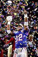 Glendale Arizona -- Florida Gator QB Chris Leak celebrates winning the BCS National Championship and the MVP Monday in Glendale Ariz. Colin Hackley / Tampa Tribune