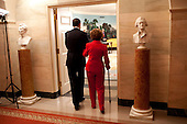 Washington, DC - June 2, 2009 -- United States President Barack Obama escorts former First Lady Nancy Reagan into the Diplomatic Room of the White House June 2, 2009, for the announcement and signing of the Ronald Reagan Centennial Commission Act--commemorating the late President's 100th Birthday in 2011.&nbsp;<br /> Mandatory Credit: Pete Souza - White House via CNP