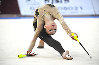 Viktoria Mazur of Ukraine performs with clubs at 2011 Holon Grand Prix at Holon, Israel on March 5, 2011.  (Photo by Tom Theobald).