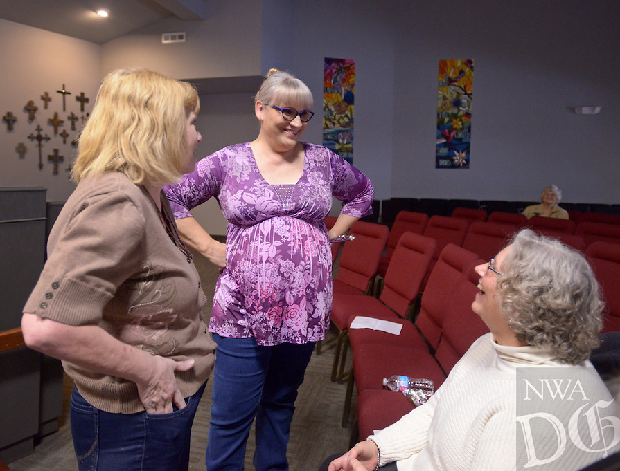 NWA Democrat-Gazette/BEN GOFF @NWABENGOFF<br /> Cyndi Driggs of Bentonville (from left), PJ Bailey of Centerton and Shirley Herbaugh of Centerton chat on Sunday Jan. 17, 2016 during an intermission in Bailey's flute concert titled 'Fluting to Help Others' at Living Waters United Methodist Church in Centerton. In lieu of admission, the church asked patrons to make a donation to their Help to Others (H2O) food pantry program.
