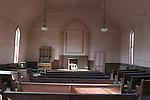 Interior of wooden church in Bodie SHP