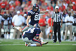 Ole Miss kicker Bryson Rose (81)kicks a field goal as Ole Miss punter Chris Conley (94) holds vs. Auburn at Vaught-Hemingway Stadium in Oxford, Miss. on Saturday, October 13, 2012.