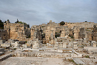 CORINTH, GREECE - APRIL 16 : A general view of the North Basilica, on April 16, 2007 in Corinth, Greece.The North Basilica, a large hall divided by two rows of columns with chambers at each end, may have been used for public meetings. Its ruins, near the Temple of Apollo, are seen here in the early morning light. Corinth, founded in Neolithic times, was a major Ancient Greek city, until it was razed by the Romans in 146 BC. Rebuilt a century later it was destroyed by an earthquake in Byzantine times. (Photo by Manuel Cohen)