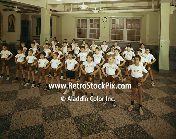 St. John Villa Academy. Children in gym uniform. 1959.
