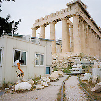 A temporary office building serving the Acropolis..