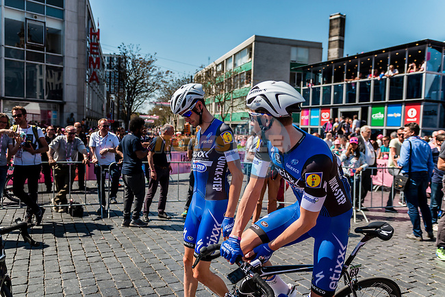 Riders of Etixx - Quick Step (BEL) signing in before the start at Nijmegen, stage 3 from Nijmegen to Arnhem running 190 km of the 99th Giro d'Italia (UCI WorldTour), The Netherlands, 8 May 2016. Photo by Pim Nijland / PelotonPhotos.com   All photos usage must carry mandatory copyright credit (Peloton Photos   Pim Nijland)