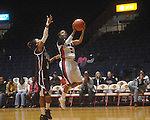 "Ole Miss' Valencia McFarland (3) shoots vs. Mississippi State in a NCAA women's college basketball game at the C.M. ""Tad"" Smith in Oxford, Miss. on Thursday, February 10, 2011.   Mississippi State won 59-43.."