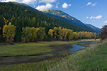 Myrtle Creek runs north along the edge of the Selkirk Mountains and through the Kootenai Wildlife Refuge west of Bonners Ferry, Idaho.