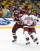 Patrick Brown (BC - 23), Kyle Criscuolo (Harvard - 11) - The Boston College Eagles defeated the Harvard University Crimson 4-1 in the opening round of the 2013 Beanpot tournament on Monday, February 4, 2013, at TD Garden in Boston, Massachusetts.