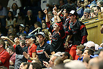 02 November 2013: A group of Drury fans celebrates after their team had taken the lead. The Duke University Blue Devils played the Drury University Panthers in a men's college basketball exhibition game at Cameron Indoor Stadium in Durham, North Carolina. Duke won the game 81-65.