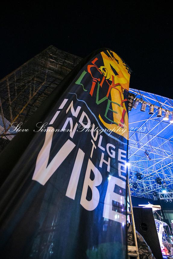 Love City Live Main Event.<br /> Signage<br /> Reggae music festival.<br /> Cruz Bay, St. John.U.S. Virgin Islands