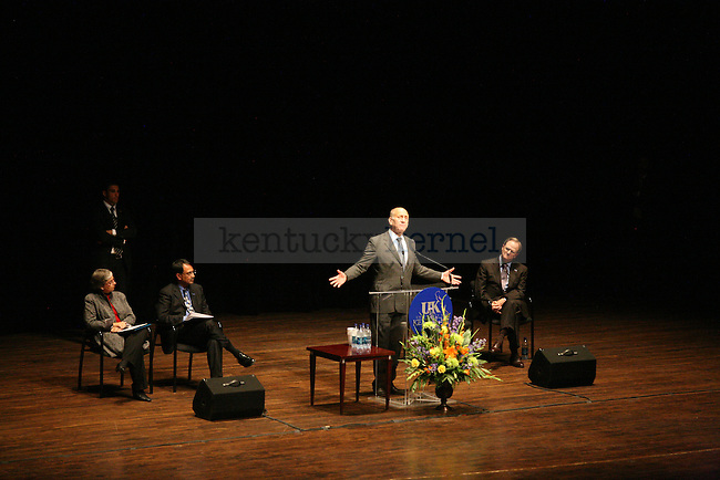 Former Israeli Prime Minister Ehud Olmert speaks about peace and his time as prime minister during a speech to UK students, faculty, Lexington residents and other visitors on Wednesday, Oct. 14, 2009 at the Singletary Center for the Arts.