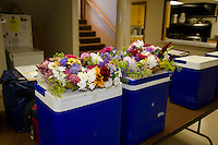 Meals on wheels coolers with bouquets for participants, Yarmouth ME