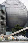 Schoolchildren look at the giant dome of the planetarium at the metropolitan science museum in Nagoya, Aichi Prefecture, Japan on 13 Oct. 2011. Photograph: Robert Gilhooly