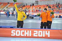 OLYMPICS: SOCHI: Adler Arena, 13-02-2014, 1000m Ladies, Hong Zhang (CHN), Ireen Wüst (NED), Margot Boer (NED), ©foto Martin de Jong