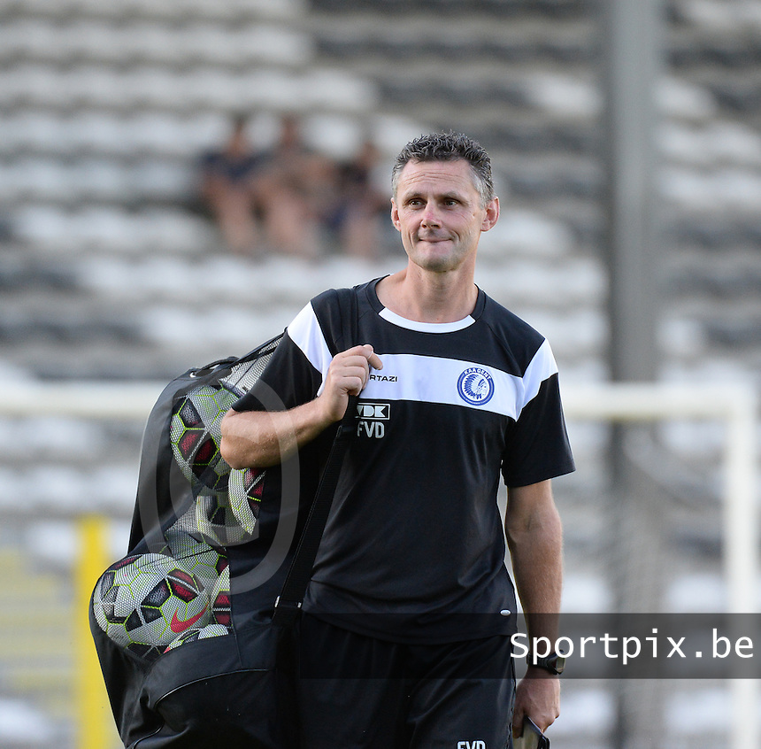 20150711 - ROESELARE , BELGIUM : Gent's goalkeepercoach Francky Vandendriessche pictured during a friendly match between Belgian second division team KSV Roeselare and Belgian first division soccer team AA Gent , during the preparations for the 2015-2016 season, Saturday 11 th July 2015 in Roeselare . PHOTO DAVID CATRY