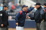 Mississippi head coach Mike Bianco argues with umpires vs. Louisville at Oxford-University Stadium in Oxford, Miss. on Saturday, March 13, 2010. Ole Miss won 8-3.
