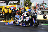 Mar 13, 2015; Gainesville, FL, USA; NHRA pro stock motorcycle rider Hector Arana Jr during qualifying for the Gatornationals at Auto Plus Raceway at Gainesville. Mandatory Credit: Mark J. Rebilas-