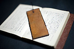 A book marker made from washi paper and coated with lacquer is displayed at Sugihara Washipaper Inc. in Echizen, Fukui Prefecture, Japan on 21 Feb. 2013. Photographer: Robert Gilhooly  .