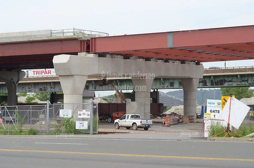 Connection between completed Contract B1 and Under Construction Contract B. West Northbound Approach Steel-Plate Girder Spans to the New Pearl Harbor Memorial Bridge at New Haven Harbor Crossing, Connectictut. CONNDOT Contract B, Project #92-618. When complete the alternately named Quinnipiac River Bridge will be first Extradosed Engineered Design Bridge in the United States.
