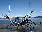 Solfar, or Sun Voyager - a sculpture by Jón Gunnar Árnason, found along the shore in Rekjavik, Iceland. Seen here in July.
