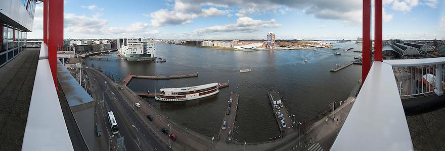 Nederland, Amsterdam, 14 maart 2013<br /> Uitzicht over het IJ vanaf het Havengebouw.<br /> Foto(c): Michiel Wijnbergh
