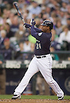 Seattle Mariners'  Ken Griffey Jr, bats against the Baltimore Orioles at SAFECO Field in Seattle April 19, 2010. The  Mariners beat the Orioles 8-2. Jim Bryant Photo. ©2010. ALL RIGHTS RESERVED.