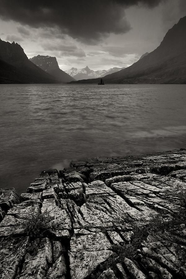 Clouds and rain diffuse the light over Wild Goose Island on St. Mary Lake in Glacier National Park, Montana.