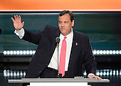 Governor Chris Christie (Republican of New Jersey) arrives to make remarks at the 2016 Republican National Convention held at the Quicken Loans Arena in Cleveland, Ohio on Tuesday, July 19, 2016.<br /> Credit: Ron Sachs / CNP<br /> (RESTRICTION: NO New York or New Jersey Newspapers or newspapers within a 75 mile radius of New York City)